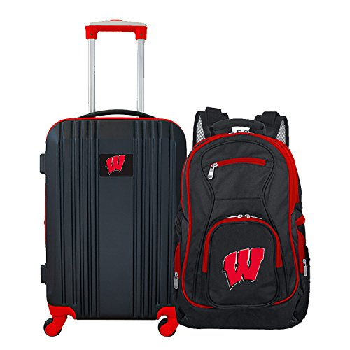 Denco NCAA Wisconsin Badgers 2-Piece Luggage (Badger Airline)
