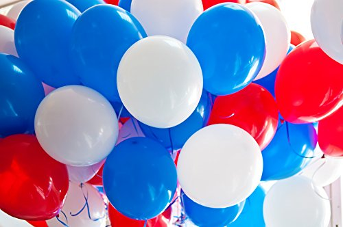 Treasures Gifted Red White and Blue Latex Balloons 12 Inch Thick Balloon Pack of 100 with 65 Yard Robbin Party Supplies for 4th of July Party Baseball Party Decorations]()