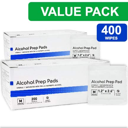 Alcohol Prep Pads, Medium 2-Ply - 400 Alcohol Wipes, Individually Wrapped Swabs, Saturated with 70% v/v Isopropyl Alcohol. ()