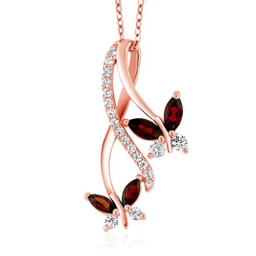1.21 Ct Marquise Red Garnet 18K Rose Gold Plated Silver Butterfly Pendant ()