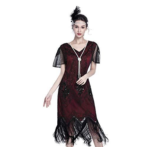 Gatsby Dresses for Women 20s Dresses for Women Sequin Flapper Beaded Tassels Hem Great Gatsby Themed Roaring 20s Dresses Red and -