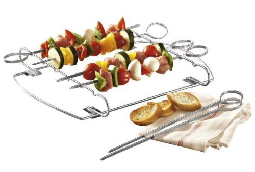 GSD Skewer Set with Rack & 6 Needles of Stainless Steel, Silver by GSD