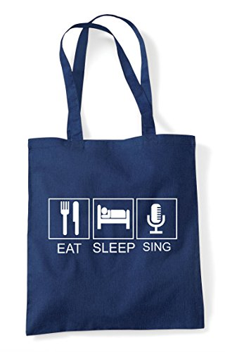 Retro Activity Old Shopper Sleep Bag Tote Sing Hobby Funny Navy Eat Style Tiles Mic zFtqwxw4