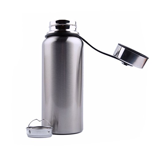 Vacuum insulated large water bottle - non toxic, BPA-free, durable stainless steel, leakproof double walled design, wide mouth, anti-slip bottom, no-spill cap and bonus strainer