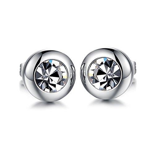 OPK Jewelry Charm Silver Tone Stainless Steel Cubic Zirconia Stud Earring Women Girls Jewelry