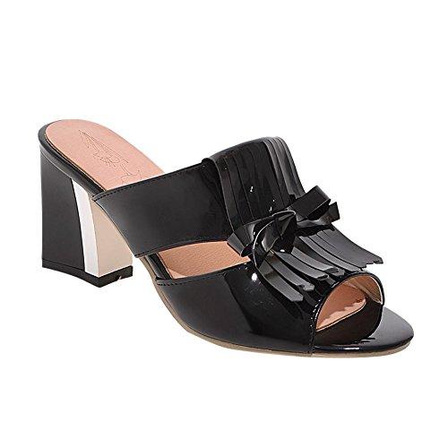 Carolbar Womens Bowknots Lack Tofsar Mode Chunky Mitten Klack Sandaler Tofflor Svart