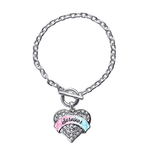 Inspired Silver - Light Blue & Light Pink Ribbon Survivor Toggle Charm Bracelet for Women - Silver Pave Heart Charm Toggle Bracelet with Cubic Zirconia Jewelry ()