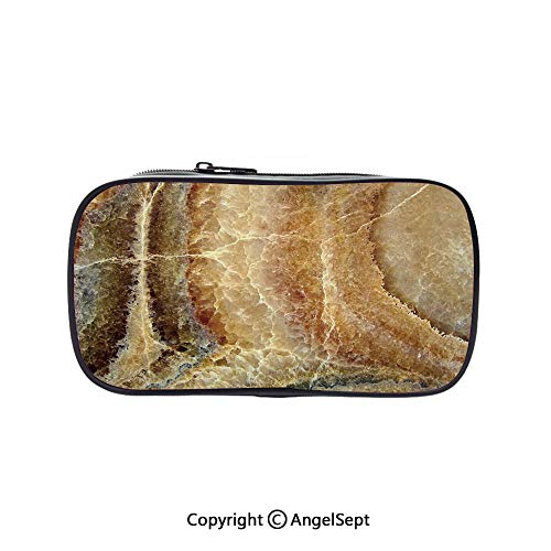 Pen Case Office College School Large Storage,Onyx Stone Surface Pattern Banded Variety Layered Differing Lines Image Decorative Sand Brown Cinnamon 5.1inches,Box Organizer New Arrival