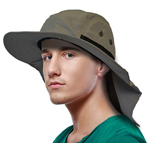 Sun Blocker Outdoor Sun Protection Fishing Cap with Neck Flap Wide Brim Hat for Safari Hiking Hunting Boating and Outdoor Adventures