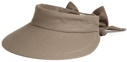 Scala Women's Deluxe Big Brim Cotton Visor with Bow, Olive, One (Brim Olive)