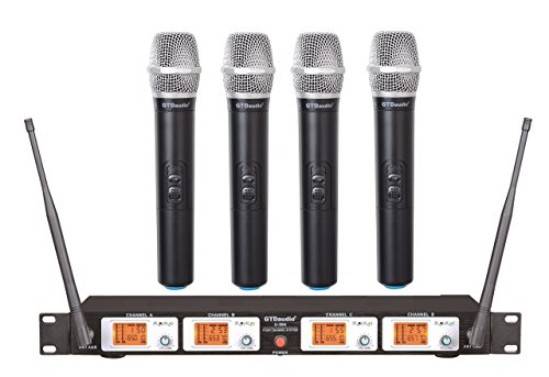 GTD Audio U-504H UHF Wireless Microphone System with 4 Hand held mics by GTD Audio