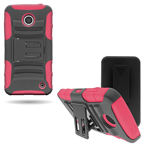 CoverON Hybrid Heavy Duty Case with Hard Kickstand Belt Clip Holster for Nokia Lumia 635 - Black Hard Plastic + Hot Pink Soft Silicone (Phone 635 Case Pink Nokia)
