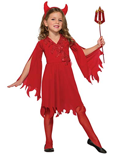 Forum Novelties Kids Delightful Devil Girl Value Costume, Red, Medium]()