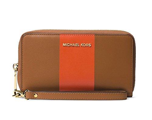 MICHAEL KORS Colorblock Leather Wristlet in Acorn/Orange by Michael Kors