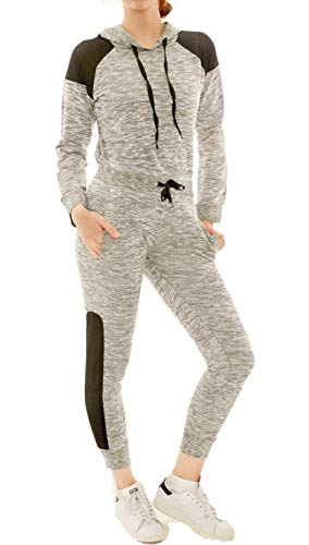 - ICON-APPAREL Women's Two Piece Outfit - Lightweight Jogger Sweatsuit - Long Sleeve Hooded Sweatshirt and Sweatpants (Heather Grey, Medium)