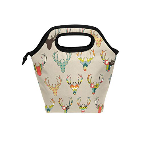 (Lunch Tote Bag with Retro Deer Head Print- Insulated Reusable Lunch Box, BaLin Thermal Colder Lunchbox for School Work Office)