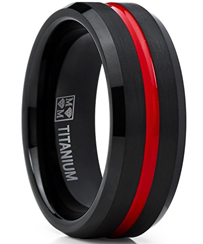 Metal Masters Co. Titanium Ring Wedding Band, Black and Red Plated Brushed Engagement Ring, Grooved, Comfort Fit 8 ()