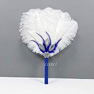 LISALI Feather Bouquet Royal Blue, Bridal alternative Ostrich Feather Fan, Bridal Bouquet, Great Gatsby 1920s Bouquet Bridesmaid Fan wedding 108