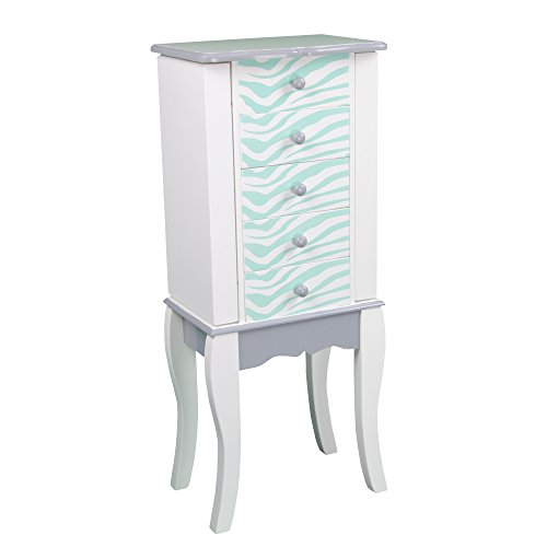 Teamson Kids Fashion Prints Kids Jewelry Chest Armoire - Zebra (Aqua Blue / White)