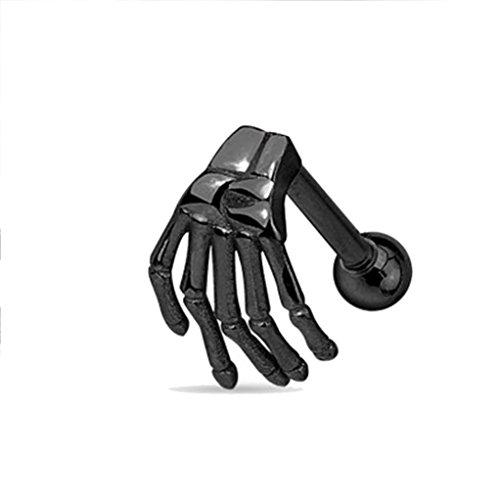 AIMTOPPY Women Jewelry, Stainless Steel Earring Skeleton Ghost Hand Ear Tragus Piercing Body Jewelry (Black, free)