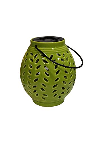 Benzara ALP-SLZ370BB-GN Oblong Ceramic Lantern with Leaf - Alps Ceramic