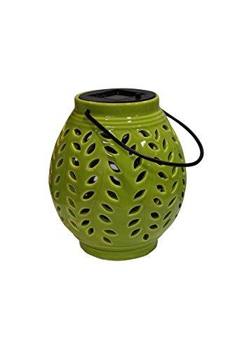 Benzara ALP-SLZ370BB-GN Oblong Ceramic Lantern with Leaf - Ceramic Alps