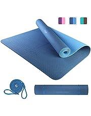 PROIRON Yogamatta halkfri stor träningsmatta pilatesmatta med bärrem 183 cm x 66 cm x 6 mm eller 183 cm x 80 cm x 6 mm för fitness hem gym TPE miljövänlig yogamatta