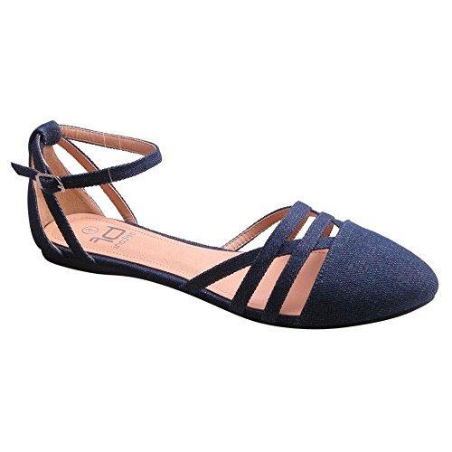 Betani Abela-9 Women's Ankle Strap Ballerina Ballet Flats (7.5, Denim)