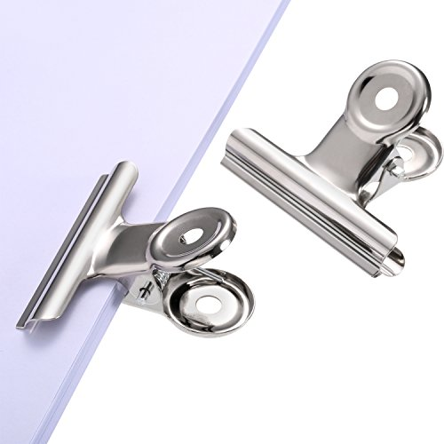 TecUnite 30 Pack Metal Hinge Clips, 2 inch Silver Chip Clip Hinge Clamp File Binder Clips for Home Office Supplies by TecUnite (Image #4)