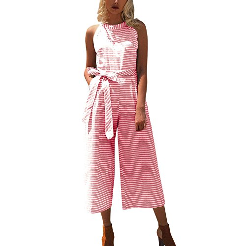 VICCKI Women Sleeveless Striped Jumpsuit Casual Clubwear Wide Leg Pants Outfit Pink ()