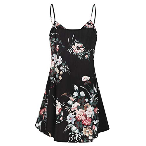 Benficial Fashion Women Floral Printed Sleeveless Botton V-Neck Camis Tops Blouse 2019 Summer Black