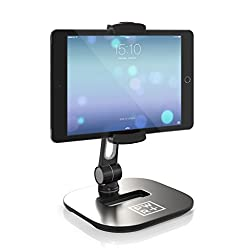 Pwr+ Sturdy Metal Plastic Tablet-Stand Cell Phone-Holder, Adjustable 360 degree Swivel Angle Rotation for 4-11 Tablets Smartphones for Kitchen Bedside Office Table Reception