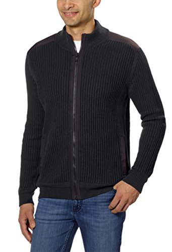 Cardigan Ribbed Klein Calvin (Calvin Klein Men's Fisherman Ribbed Knit Cotton Mock Neck Sweater (X-Large, Black))