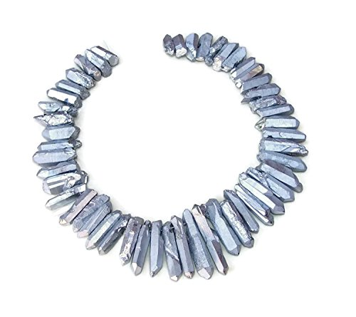 Silver Titanium Quartz Crystal Points. Excellent Gemstones for Jewelry Making. Rough Raw Quartz Jewelry Stones. Full Strand - 20mm - 40mm