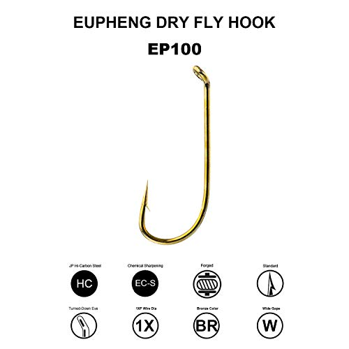 Eupheng Prime Fly Fishing Hooks Dry Wet Nymph Streamer Caddis Shrimp Pupea Larva Jig Floating Collection High Carbon Competition Barb Great Value Package ()
