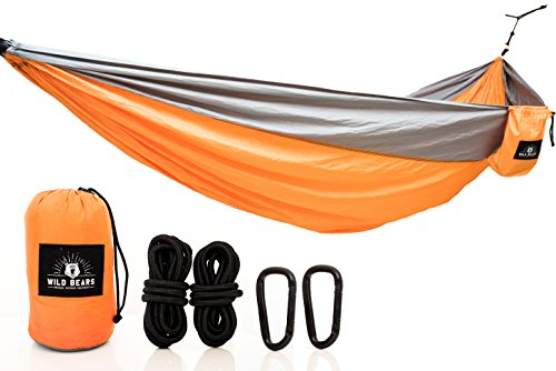 Wild Bears #1 Double Camping Hammock ON SALE | Best Quality Hammocks for 2 Person Lightweight, Portable, Parachute Nylon for Outdoors, Backpacking, Travel, Beach, Hiking, Yard, Garden | 118 x 78 in (Duracord Outdoor Rope Hammock)