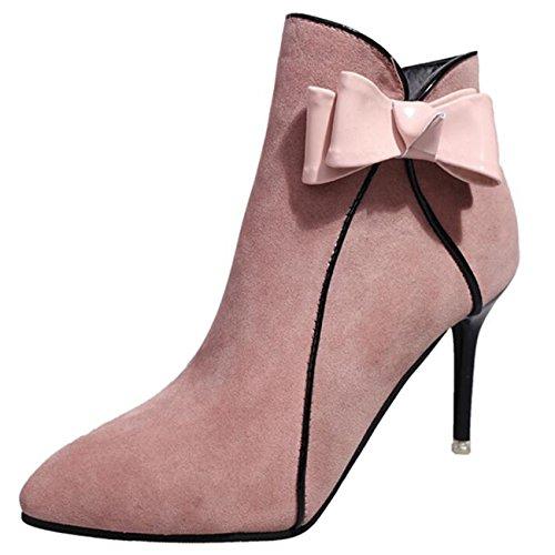 Binying Women's Bowknot Pointed-Toe Stiletto Zip Chukka Boots Pink lFZKzhqGwF