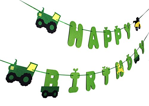 Green Tractor Birthday Banner - decorations - party supplies - party banners - john deere by JAGGER M (Image #1)