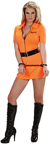 Ladies Guilty Inmate Costume Small Uk 8-10 For Prisoner Convict Jail Fancy Dress