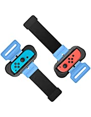 Wrist Bands for Just Dance 2021 2020 and Zumba Burn It Up for Nintendo Switch Controller Game, Adjustable Elastic Strap for Joy-Cons Controller, Two Size for Adults and Children, 2 Pack (Red and Blue)