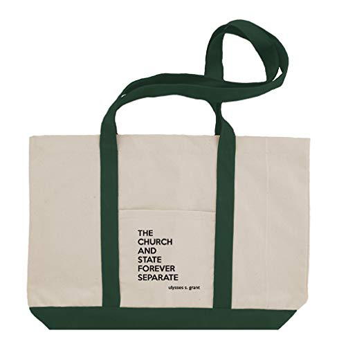 The Church And State Forever Separate (Ulysses S. Grant) Cotton Canvas Boat Tote Bag Tote - Green by Style In Print