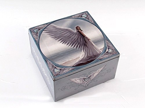 Anne Stokes Spirit Guide Fairy Designer Fabric Covered Jewelry Trinket Box, Great Gift for Mom this Mother's (Covered Jewelry Box)