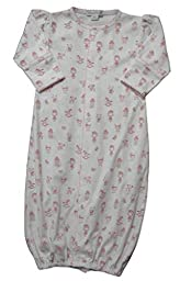 Kissy Kissy Baby-Girls Infant Doll House Dreams Print Convertible Gown-White With Pink-Small