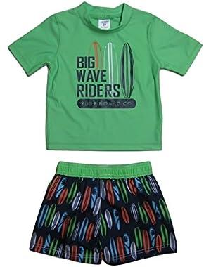 Little Boys Big Wave Rider Rash Guard Set, Green