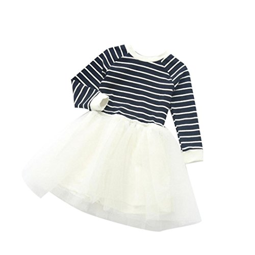 [Lonsbo Toddler Girls Fashion Cotton Blend Pageant Stripe Spliced Long Sleeve Dress (5T, white)] (Top 2016 Toddler Halloween Costumes)