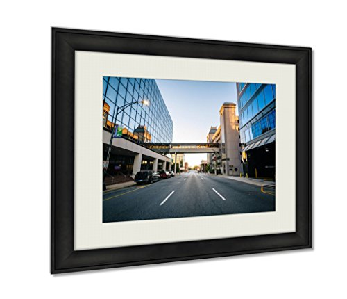 Ashley Framed Prints, Modern Buildings And Friendly Avenue In Downtown Greensboro No, Black, 24x30 Art, - Friendly Center Greensboro
