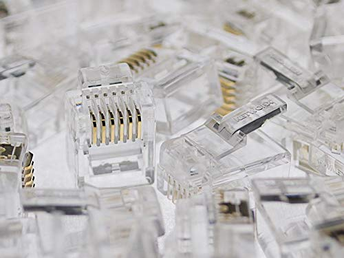 (1 X RJ11/12 6P6C Modular Connector for Round Cable - 100 Pack)