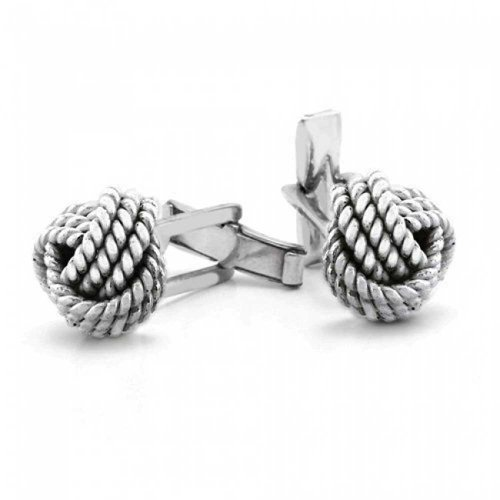 (Solid Knot Sided Woven Nautical Rope Braid Twist Shirt Cufflinks For Men Oxidized 925 Sterling Silver Hinge Back)