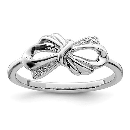 Cut Diamond Bow Ring Cushion (925 Sterling Silver Diamond Bow Band Ring Size 7.00 Fine Jewelry For Women Gift Set)