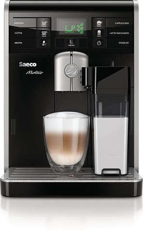 Philips Saeco Moltio One Touch Super Automatic Espresso Machine with Integrated Milk Carafe, Display and Quick Heat Boiler, Black, HD8769/09